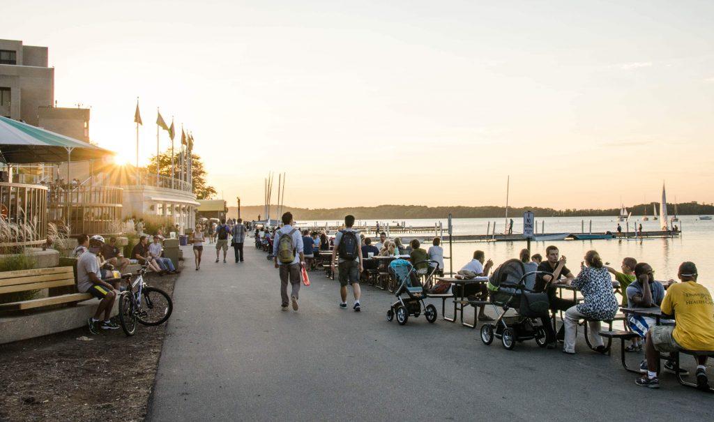 Promenade at sunset