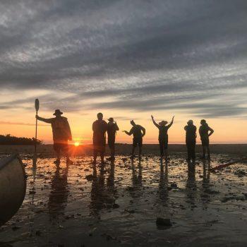 Students at dusk