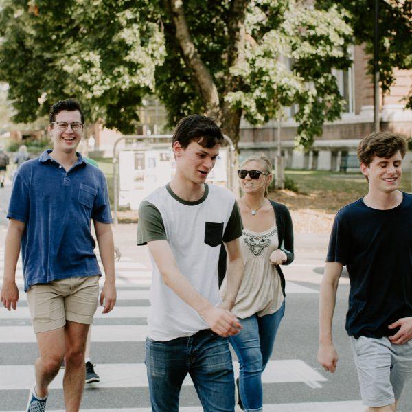 Mansfield Hall - Burlington - Students walking downtown